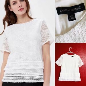 🌸Banana Republic short sleeved white lace top🌸